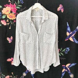 Cloth Stone Rayon Button Down Shirt Daisy Floral